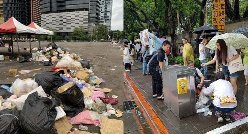 韓粉造勢後留下大量垃圾,與反紅媒群眾形成強烈對比。(左圖取自肥肥的躁鬱人生、右圖取自公民割草行動臉書粉專)