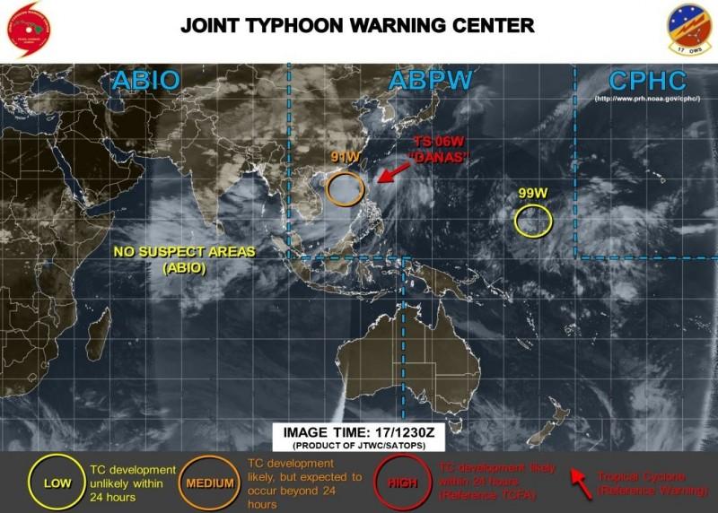 「91W」低壓區正逐漸在菲律賓西方海面發展,美軍預測它「可能會發展成熱帶氣旋」。(圖擷取自JTWC)