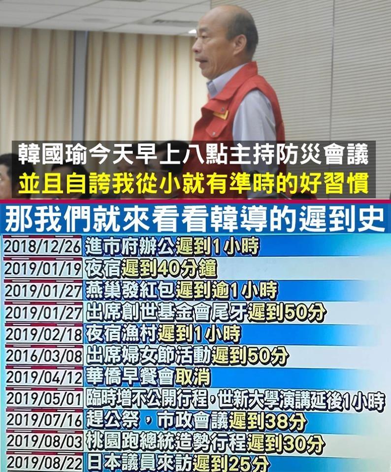 網友製作韓國瑜的「遲到史」一覽表。(圖擷取自臉書粉絲專頁「只是堵藍」)