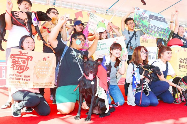 Animal lovers and their pets pose on the stage during an animal welfare event and parade on Ketagalan Boulevard in front of the Presidential Office Building in Taipei yesterday. Photo: CNA