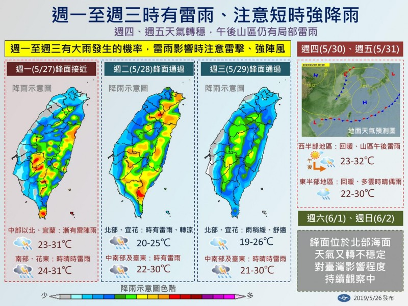 中央氣象局今天下午發布未來一週天氣提醒。(擷取自中央氣象局「報天氣-中央氣象局」臉書粉絲專頁)