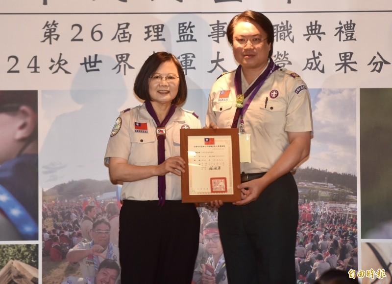 總統蔡英文今出席中華民國童軍總會第26屆理事長暨理監事就職典禮。(記者簡榮豐攝)