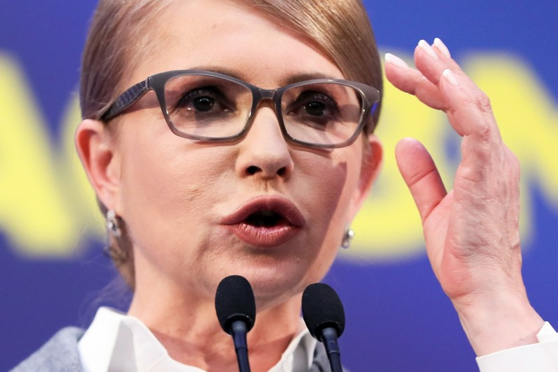 烏克蘭總統大選,前總理季莫申科票數排位居第3,為13.15%。(歐新社)