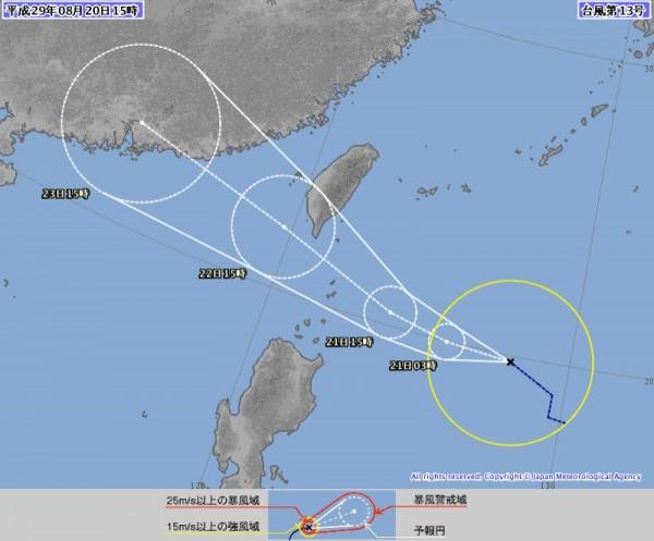 日本氣象廳也認為天鴿颱風未來將通過鵝鑾鼻近海。(圖擷自日本氣象廳)