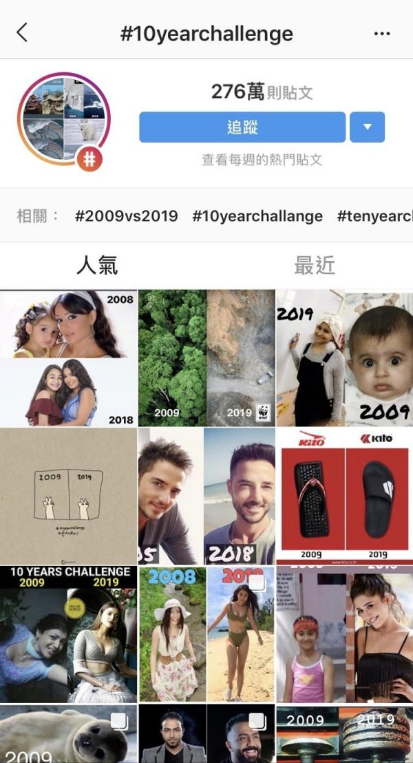 截至17日晚上8時,至少有276萬人響應Instagram的「#10YearChallenge」。(圖擷取自Instagram)
