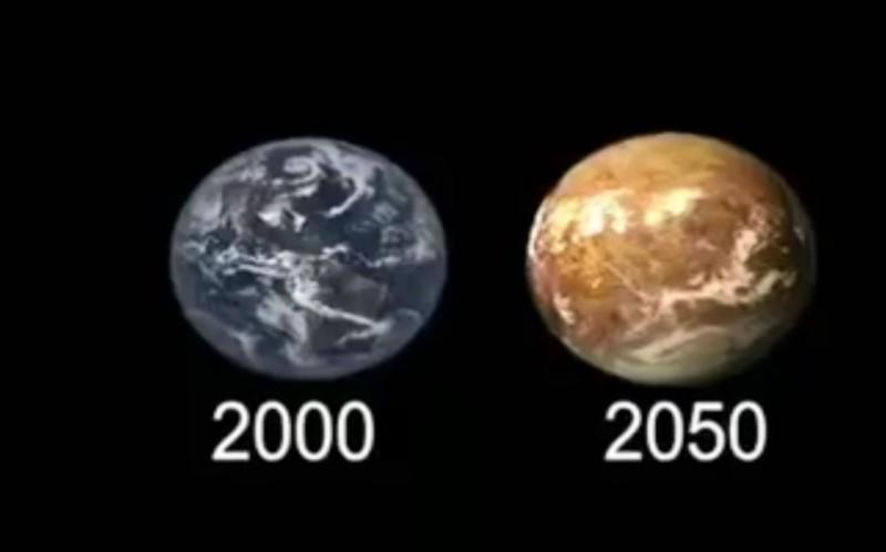 這部影片,把所有觀眾帶往我們的「可能的未來」,地球的外觀也從藍綠色變成死氣沉沉的褐色。(翻攝saveoneourworlds IG)