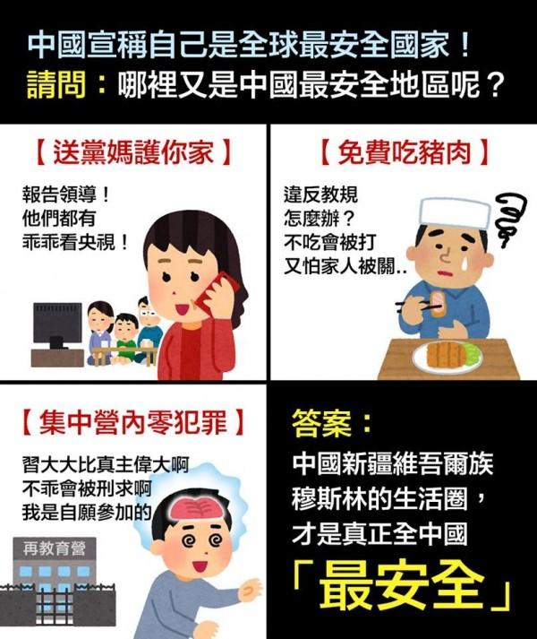 網友製圖諷刺中國官方自稱是世界最安全國家之一的說法。(圖擷取自臉書粉專「台灣賦格 Taiwan Fugue」)