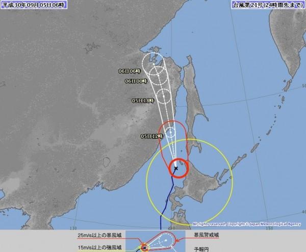颱風「燕子」中心位置於當地時間今日7點位在北海道禮文島南南西方約80公里處。(圖擷取自日本氣象廳)