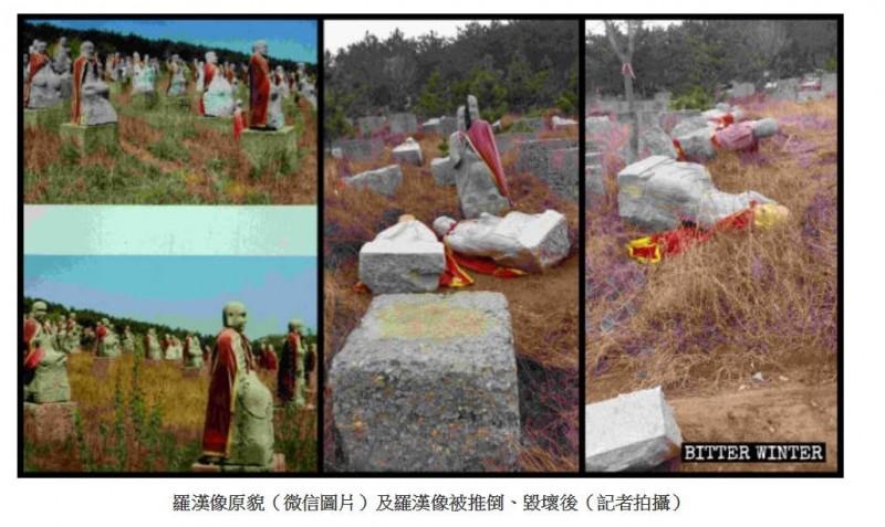 508尊由白玉石雕琢的羅漢像,被當局以「未經審批屬非法宗教造像」為由拆除。(圖擷取自《寒冬》)