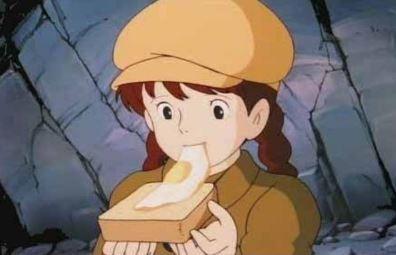 吉卜力料理總選舉,第1名是《天空之城》的荷包蛋吐司。(圖擷取自girlschannel.net)