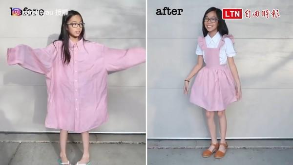Sarah Tyau將舊衣改造,變成不同風格的衣服。(授權:sarahtyau)