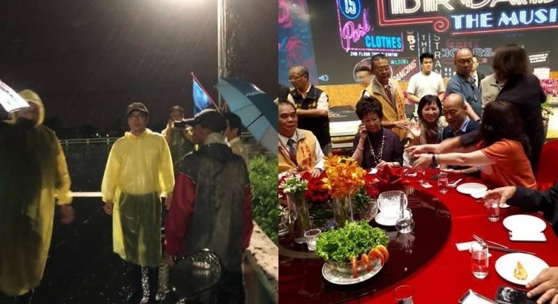 高雄市各地淹水災情頻傳,韓國瑜昨現身餐會惹議。韓國瑜今對此解釋,自己到場並非吃香喝辣,而且自己一道菜都沒吃,只有喝一杯水。(左圖取自陳其邁臉書,右圖取自臉書粉絲專頁「林后可可園」)