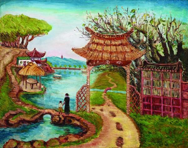 香港巴塞爾藝術展,尊彩藝術中心展出陳澄波〈梅園〉。 (資料照,尊彩藝術中心/提供)