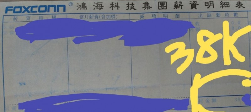 鄉民指出,自己有外國碩士學歷,在鴻海只有38k。(圖擷取自ptt)