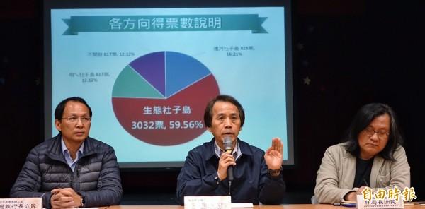 社子島I-voting 結果出爐,生態社子島方案獲得近六成支持,副市長林欽榮(中)說明未來市府努力方向。