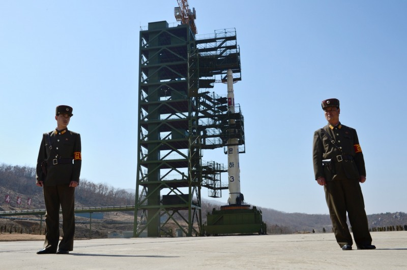 西海「東昌里發射場」,該發射場是北韓最大的火箭試驗場,曾被用來發射衛星和測試洲際彈道飛彈的發動機。(法新社)