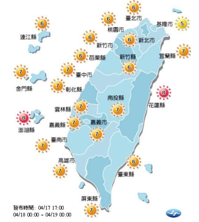 紫外線方面,明天花蓮、澎湖達過量級,基隆為中量級,其餘地區為高量級。(圖擷取自中央氣象局)