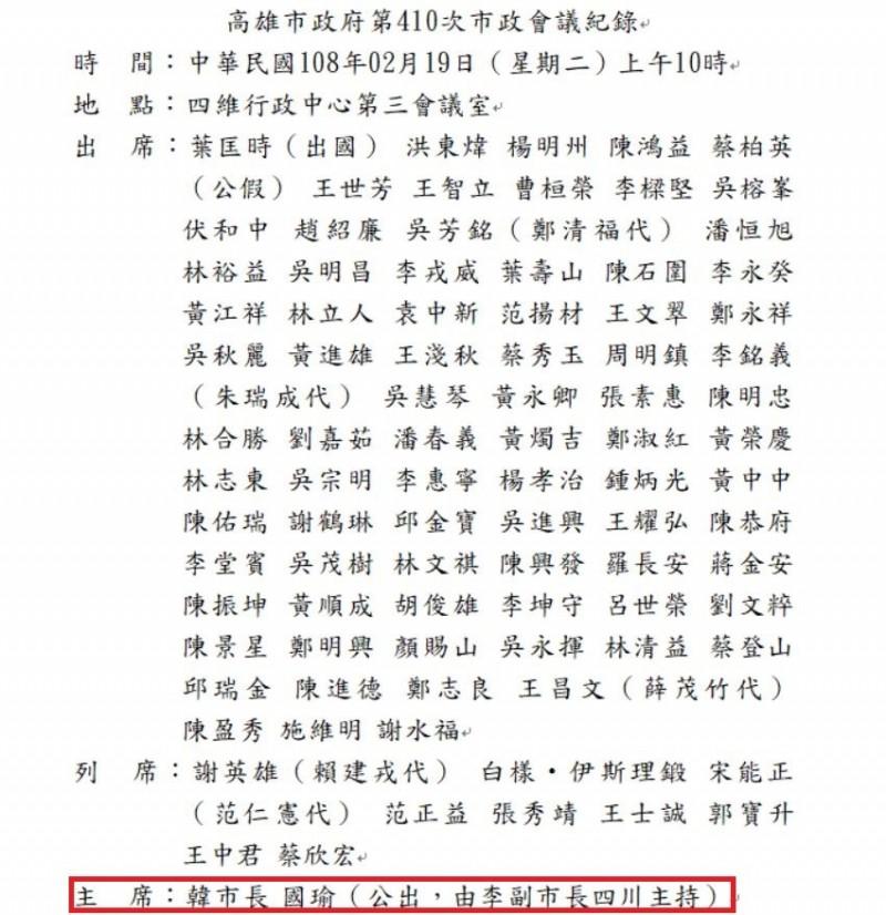 高雄市議會官網最新上傳的19日〈高雄市政府第410次市政會議紀錄〉,裡頭仍標記韓國瑜「公出」,而未做修正。(高雄市議會官網)