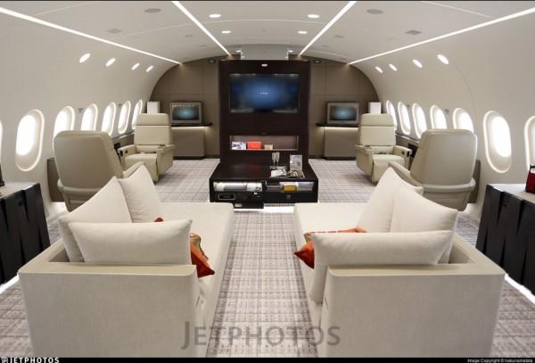 波音787飛機奢華的飛機內裝照片。(圖取自推特)