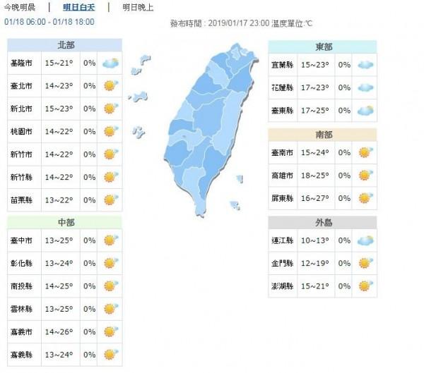 溫度方面,今夜明晨中部以北及東北部低溫只有13、14度,各地高溫則可來到21度以上,中南部甚至可達到25至27度。(圖擷取自中央氣象局)