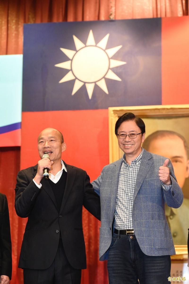 國民黨正副總統參選人韓國瑜張善政,8日出席大陸各省市同鄉後援會成立大會。(記者叢昌瑾攝)