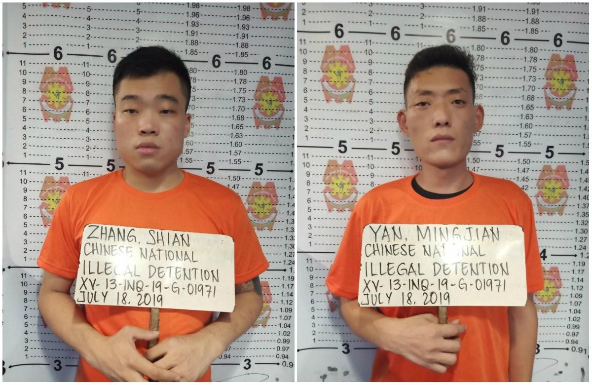 2名涉嫌拘禁22歲蔡姓男子的中國籍男子。(圖取自菲律賓每日詢問報)