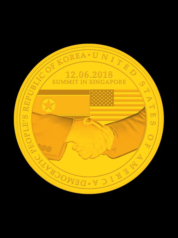 新加坡造幣廠推出的川金會紀念獎章。(圖片取自新加坡造幣廠官網)