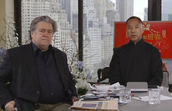 中國流亡富商郭文貴(右)、前白宮首席策士班農(左)警告,中共政權為了轉移內部壓力,很可能武力犯台。(圖擷自Youtube)