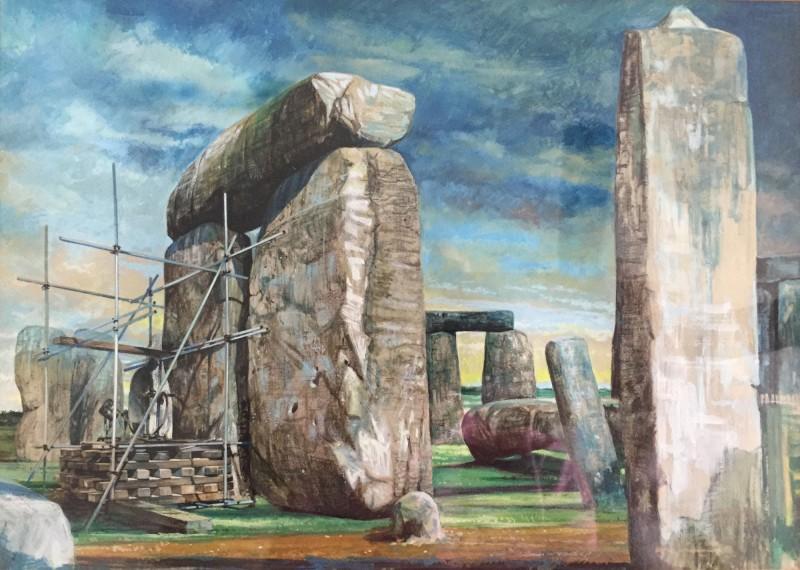 1958年巨石陣考古修復工程圖畫,可見巨石上的坑洞。(路透,英格蘭遺產委員會提供)