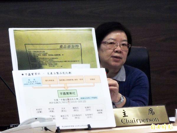 衛福部食藥署代署長姜郁美說明含二甲基黃豆乾流向。(記者謝文華攝)