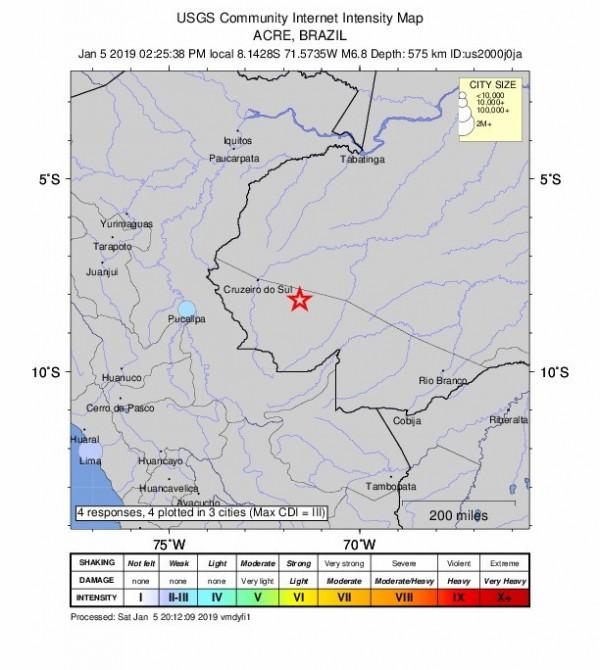 巴西西北部與秘魯邊境發生規模6.8強震,尚未傳出災情。(歐新社取自美國地質調查所(USGS)網站)
