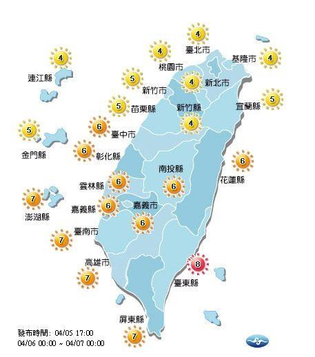 明日各地紫外線概況。(圖擷自中央氣象局)