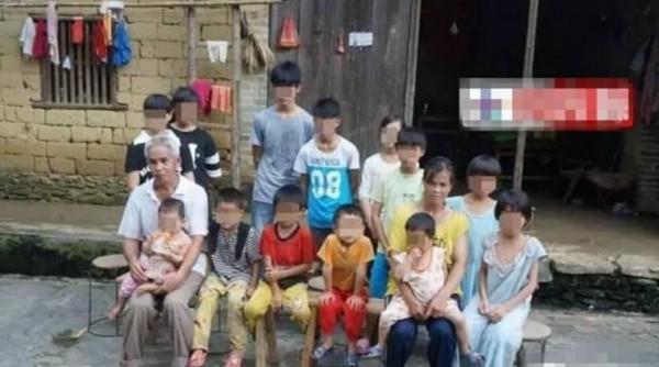 中國廣西容縣黎村66歲的梁姓男子,與妻子結婚21年,至今生下14名子女。(圖片取自鳳凰網)