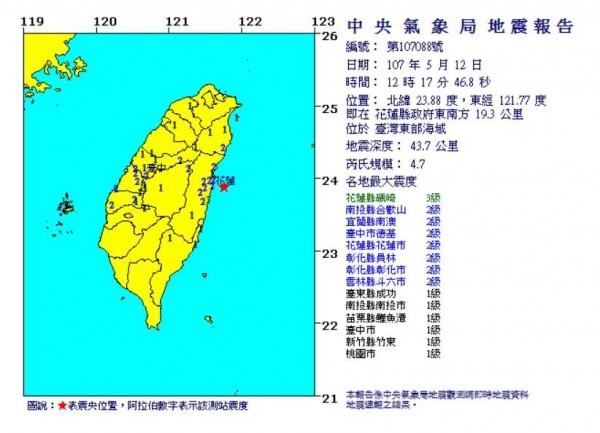 今中午12時17分,東部海域發生芮氏規模4.7有感地震。(圖翻攝自中央氣象局)
