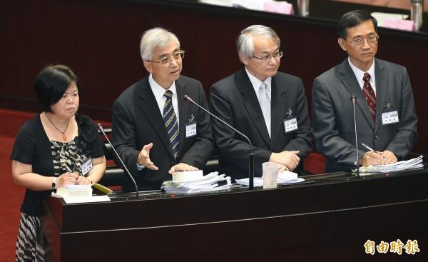 黃虹霞(左起)、吳陳鐶、蔡明誠、林俊益等4位準大法官皆反對同性婚姻。(資料照記者廖振輝攝)