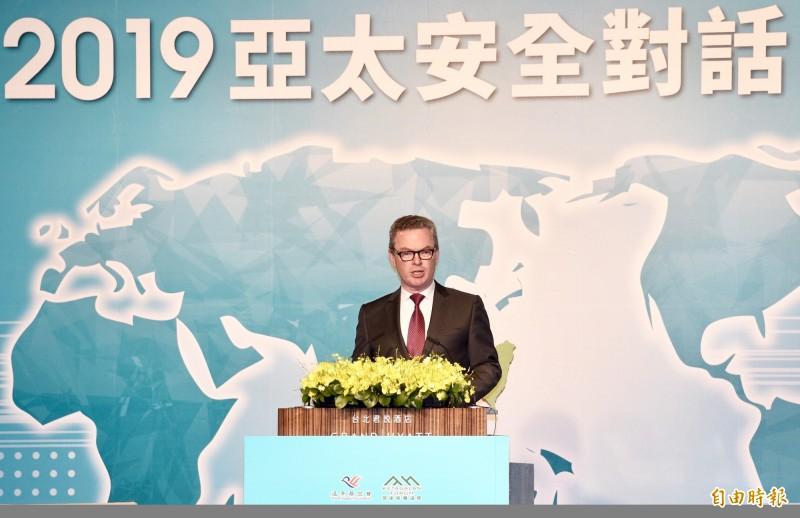 澳大利亞前國防部長潘恩(Christopher Pyne)20日出席「凱達格蘭論壇:2019亞太安全對話」。(記者羅沛德攝)