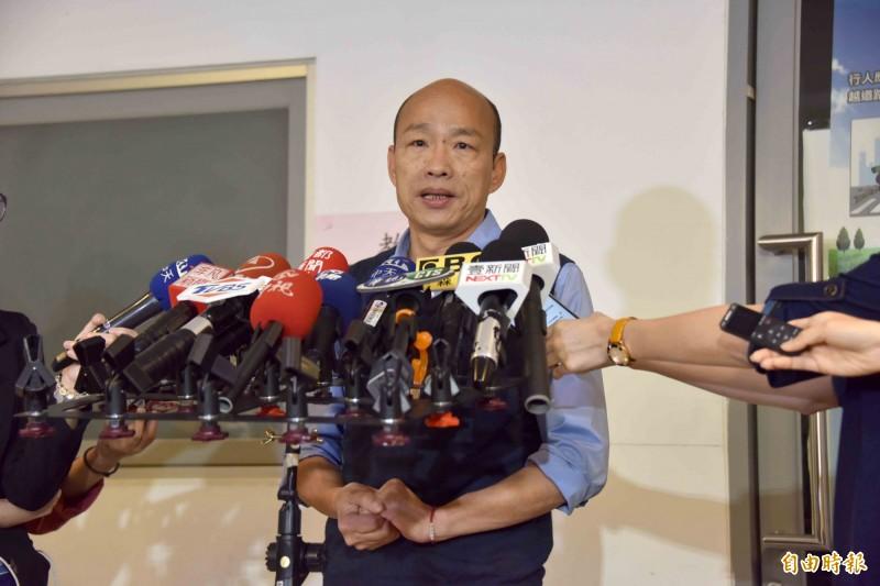 名嘴陳揮文在政論節目上稱,韓國瑜(見圖)已經把市長能做的事情都做完了。遭周奕成酸:「高雄市長每一屆6個月就可以改選」。(資料照)