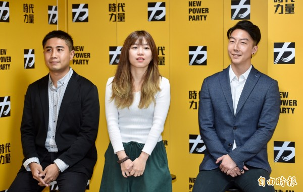時代力量三位發言人吳崢(右起)、林穎孟、李兆立。(資料照,記者羅沛德攝)