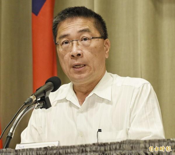行政院證實,院長林全於昨天向蔡總統請辭。圖為行政院發言人徐國勇。(記者陳志曲攝)