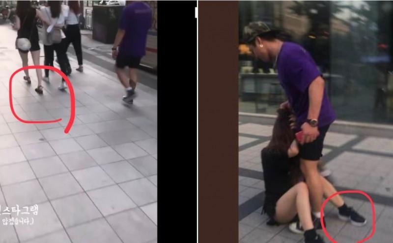 有網友懷疑影片是偽造的,因為被毆打的女性鞋子在短時間內竟然不一樣。(圖擷自みゆりん推特)