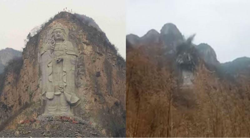 中國當局不滿河北觀音像信徒眾多,竟然派出爆破大隊將它炸毀。(圖擷取自《寒冬》)