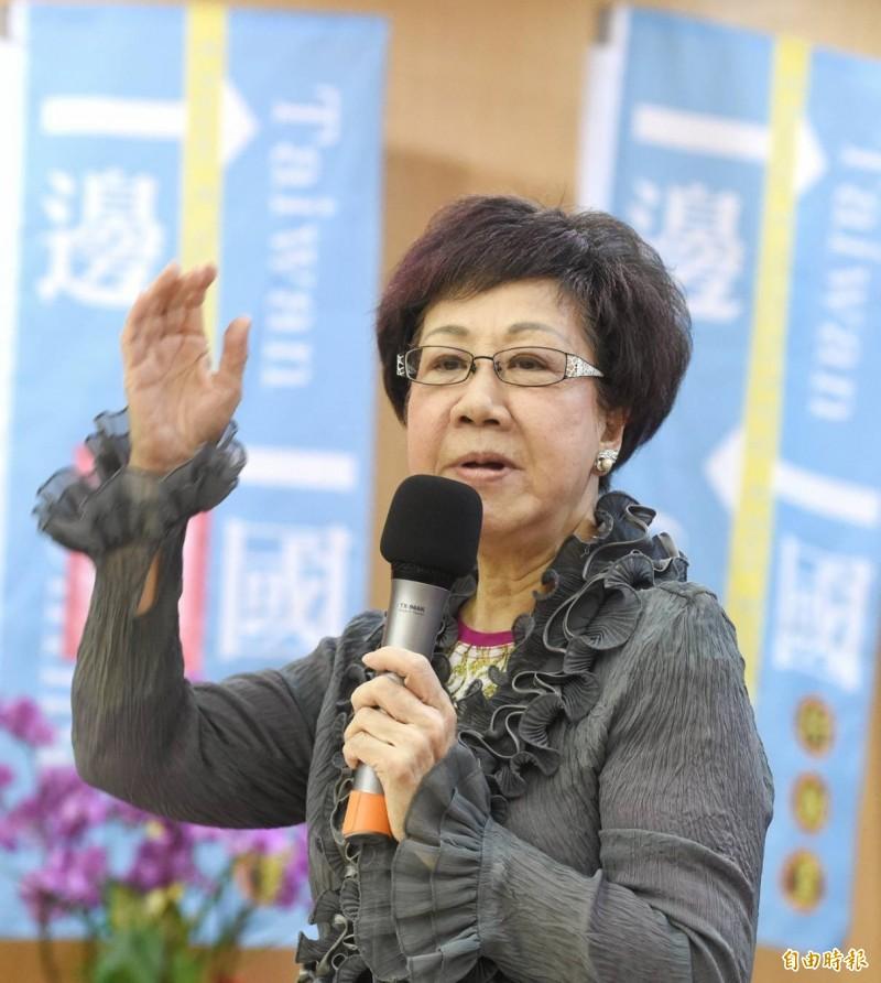 前副總統呂秀蓮表示,台灣是台灣人的台灣,不是中共的台灣,台灣人一定要有最新的覺悟。(記者方賓照攝)
