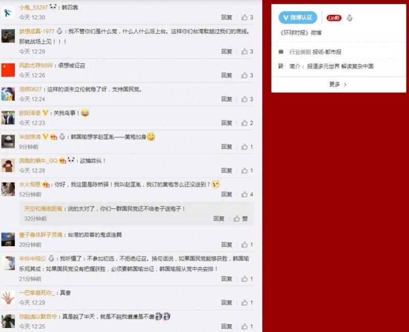 有網友認為,韓國瑜此舉就是想「黃袍加身」,有如宋太祖趙匡胤。(圖擷取自微博)