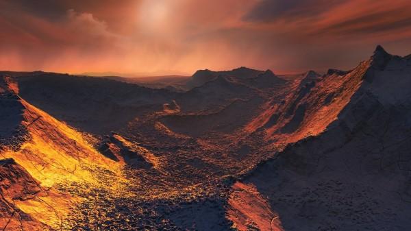 歐洲南天天文台(ESO)對於新發現的超級地球「巴納德星B」想像圖。(法新社)
