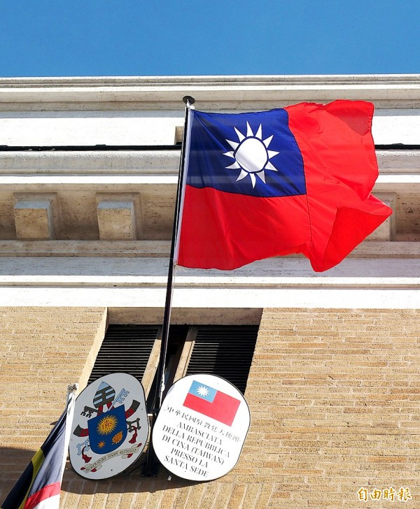 A Republic of China flag flies outside a window of the Taiwanese embassy to the Holy See in Rome on Sept. 12. Photo: EPA
