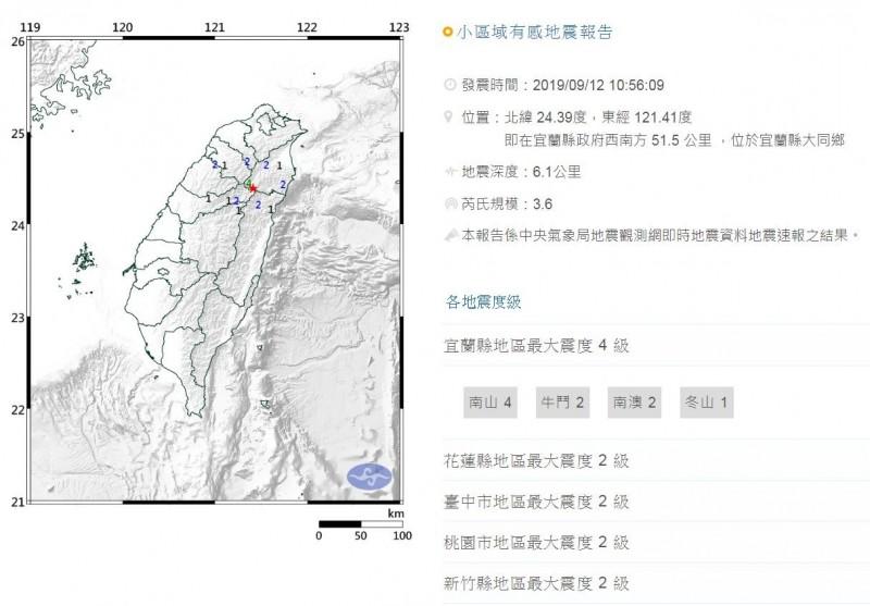 氣象局指出,今上午10時56分宜蘭發生芮氏規模3.6地震,地震深度6.1公里,最大震度宜蘭縣4級。(圖擷自氣象局網站)