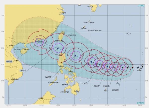 美軍聯合颱風警報中心對山竹持續發布紅色警示,它在24小時內強度還會持續增強。(圖擷取自ATCF)