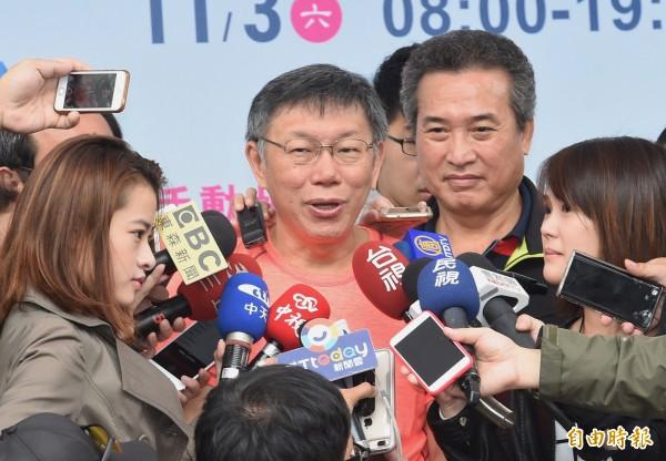 對於有媒體報導「柯韓配」一事,台北市長柯文哲笑稱「有創意」。(記者劉信德攝)