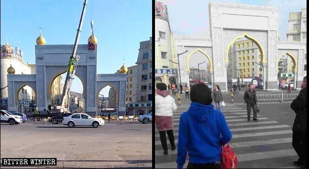 中國迫害宗教自由的行為遭各國非議,現在全國各地帶有「清真」標誌的招牌和伊斯蘭風格的建築標誌都被拆除,穆斯林的傳統習俗與信仰正在被中國政府摧毀,甚至重創穆斯林經濟。(圖擷取自《寒冬》)