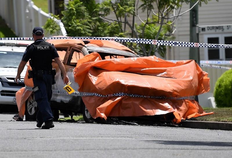 澳洲布里斯本(Brisbane)今日發生一起火燒車事件。(歐新社)